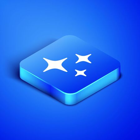 Isometric Falling star icon isolated on blue background. Shooting star with star trail. Meteoroid, meteorite, comet, asteroid, star icon. Blue square button. Vector Illustration Foto de archivo - 133407770