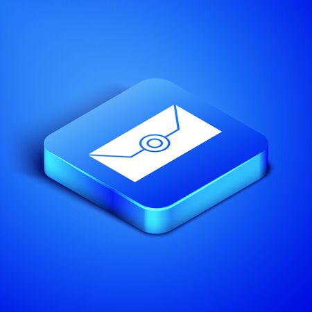 Isometric Envelope with party invitation card icon isolated on blue background. Blue square button. Vector Illustration Illusztráció
