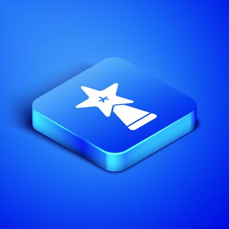 Isometric Christmas star icon isolated on blue background. Merry Christmas and Happy New Year. Blue square button. Vector Illustration Foto de archivo - 133407977