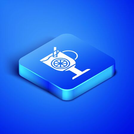 Isometric Mulled wine with glass of drink and ingredients icon isolated on blue background. Cinnamon stick, clove, lemon slice. Blue square button. Vector Illustration Foto de archivo - 133407989