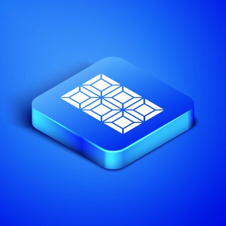 Isometric Chocolate bar icon isolated on blue background. Blue square button. Vector Illustration