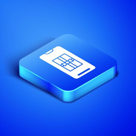 Isometric Smartphone with gift box on the screen icon isolated on blue background. Merry Christmas and Happy New Year. Blue square button. Vector Illustration