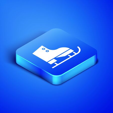 Isometric Figure skates icon isolated on blue background. Ice skate shoes icon. Sport boots with blades. Blue square button. Vector Illustration 向量圖像