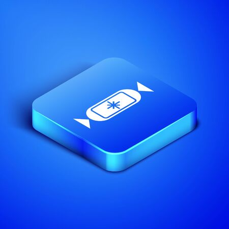 Isometric Candy icon isolated on blue background. Blue square button. Vector Illustration