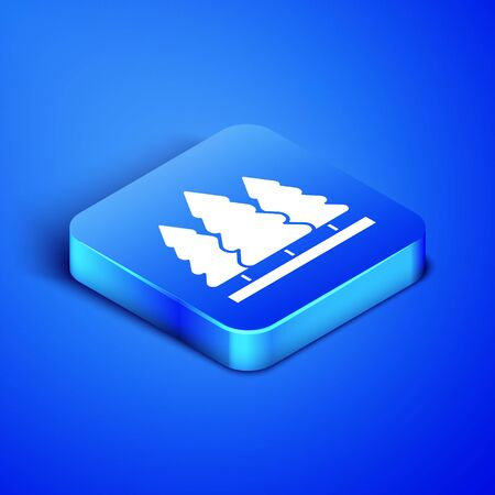 Isometric pine trees icon isolated on blue background. Blue square button. Vector Illustration Foto de archivo - 133408419