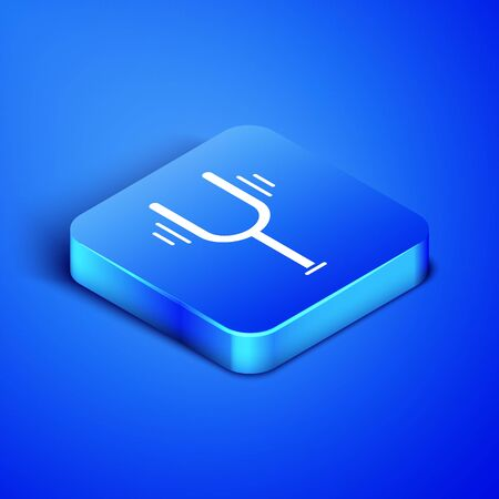 Isometric Musical tuning fork for tuning musical instruments icon isolated on blue background. Blue square button. Vector Illustration