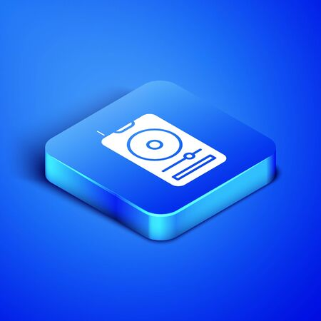 Isometric Music player icon isolated on blue background. Portable music device. Blue square button. Vector Illustration