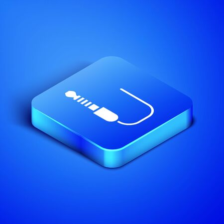 Isometric Audio jack icon isolated on blue background. Audio cable for connection sound equipment. Plug wire. Musical instrument. Blue square button. Vector Illustration Ilustrace