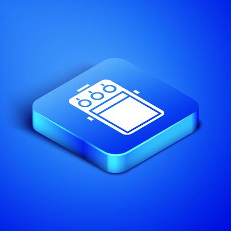 Isometric Guitar pedal icon isolated on blue background. Musical equipment. Blue square button. Vector Illustration