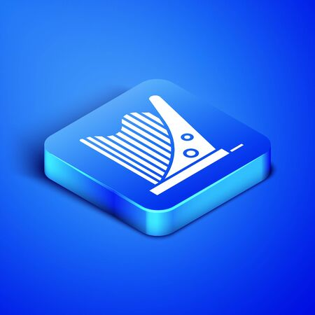 Isometric Harp icon isolated on blue background. Classical music instrument, orhestra string acoustic element. Blue square button. Vector Illustration