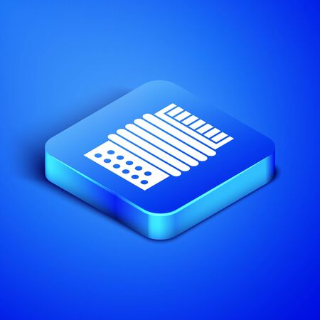 Isometric Musical instrument accordion icon isolated on blue background. Classical bayan, harmonic. Blue square button. Vector Illustration Фото со стока - 133407808
