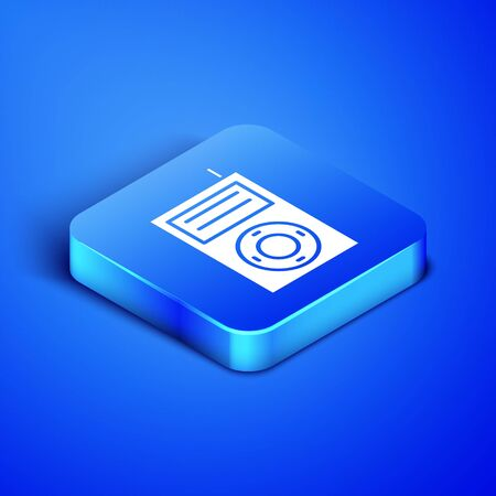 Isometric Music MP3 player icon isolated on blue background. Portable music device. Blue square button. Vector Illustration Иллюстрация