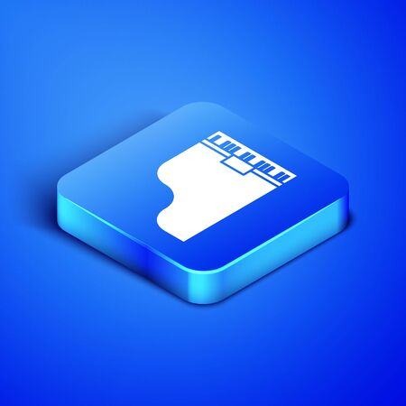 Isometric Grand piano icon isolated on blue background. Musical instrument. Blue square button. Vector Illustration Фото со стока - 133407817