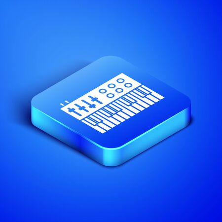 Isometric Music synthesizer icon isolated on blue background. Electronic piano. Blue square button. Vector Illustration Фото со стока - 133408017