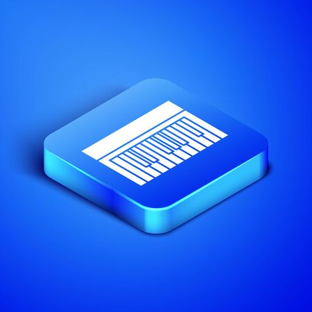 Isometric Music synthesizer icon isolated on blue background. Electronic piano. Blue square button. Vector Illustration