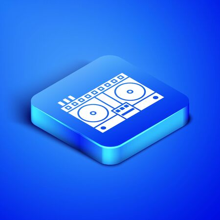 Isometric DJ remote for playing and mixing music icon isolated on blue background. DJ mixer complete with vinyl player and remote control. Blue square button. Vector Illustration