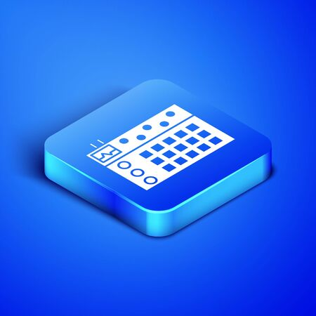 Isometric Drum machine icon isolated on blue background. Musical equipment. Blue square button. Vector Illustration Stok Fotoğraf - 133408020