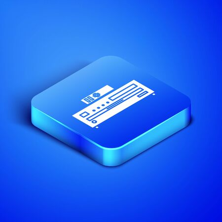 Isometric Music CD player icon isolated on blue background. Portable music device. Blue square button. Vector Illustration