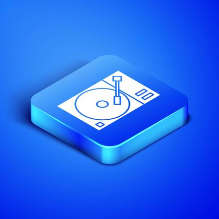 Isometric Vinyl player with a vinyl disk icon isolated on blue background. Blue square button. Vector Illustration Фото со стока - 133407718