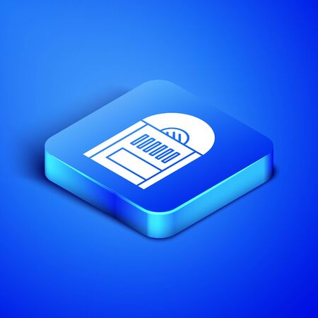 Isometric Vinyl disk icon isolated on blue background. Blue square button. Vector Illustration Фото со стока - 133407719