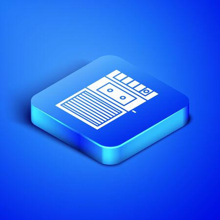 Isometric Music tape player icon isolated on blue background. Portable music device. Blue square button. Vector Illustration
