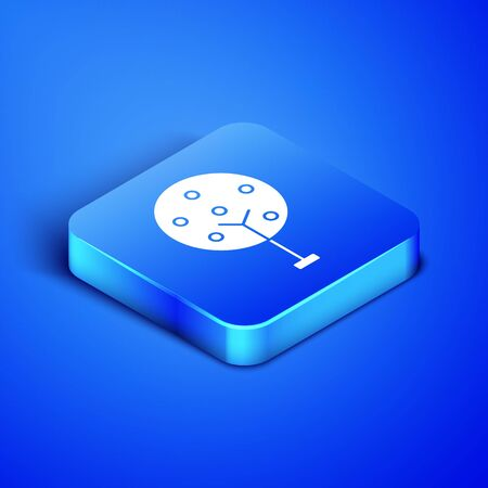 Isometric Tree icon isolated on blue background. Forest symbol. Blue square button. Vector Illustration