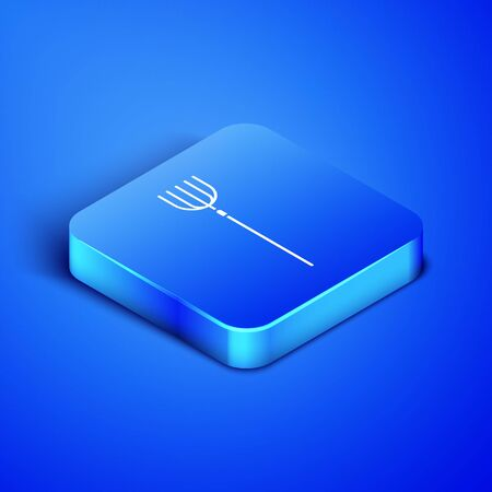 Isometric Garden pitchfork icon isolated on blue background. Garden fork sign. Tool for horticulture, agriculture, farming. Blue square button. Vector Illustration