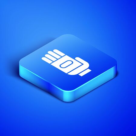 Isometric Garden gloves icon isolated on blue background. Rubber gauntlets sign. Farming hand protection, gloves safety. Blue square button. Vector Illustration
