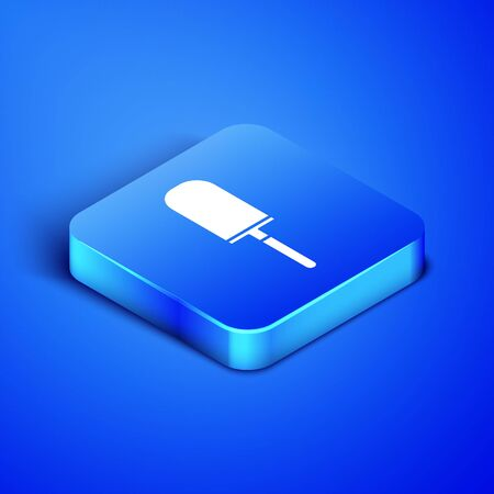 Isometric Garden trowel spade or shovel icon isolated on blue background. Gardening tool. Tool for horticulture, agriculture, farming. Blue square button. Vector Illustration 일러스트