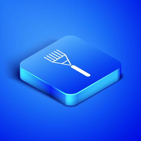 Isometric Garden rake icon isolated on blue background. Tool for horticulture, agriculture, farming. Ground cultivator. Housekeeping equipment. Blue square button. Vector Illustration