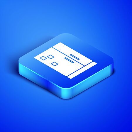 Isometric Refrigerator icon isolated on blue background. Fridge freezer refrigerator. Household tech and appliances. Blue square button. Vector Illustration