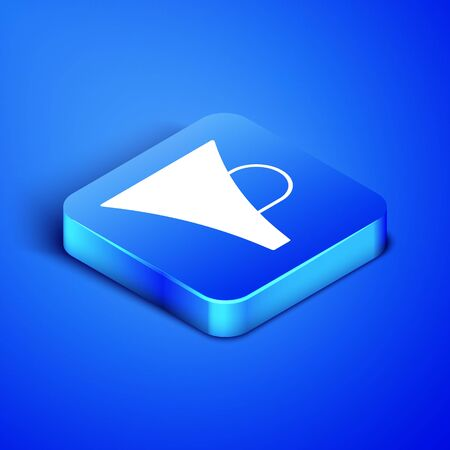 Isometric Funnel or filter icon isolated on blue background. Blue square button. Vector Illustration