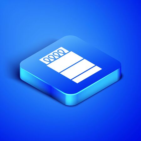 Isometric Open matchbox and matches icon isolated on blue background. Blue square button. Vector Illustration