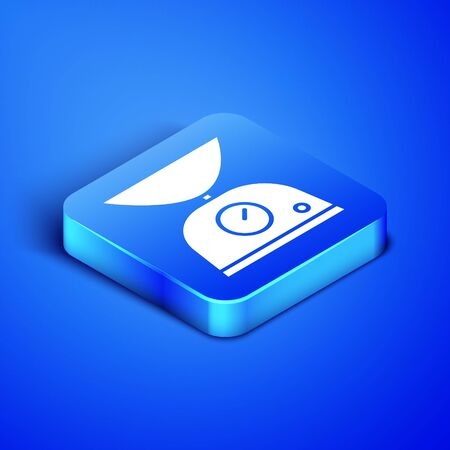 Isometric Scales icon isolated on blue background. Weight measure equipment. Blue square button. Vector Illustration