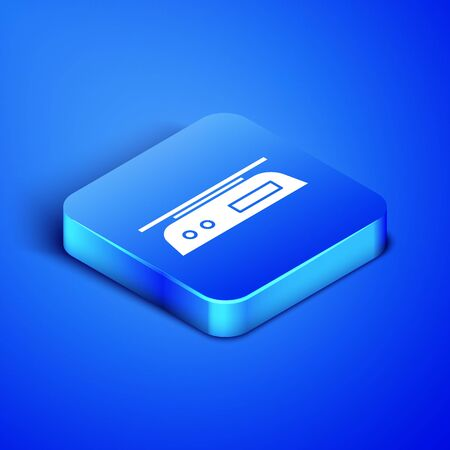 Isometric Electronic scales icon isolated on blue background. Weight measure equipment. Blue square button. Vector Illustration
