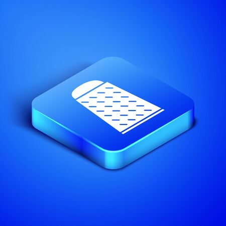 Isometric Grater icon isolated on blue background. Kitchen symbol. Cooking utensil. Cutlery sign. Blue square button. Vector Illustration Stock Illustratie
