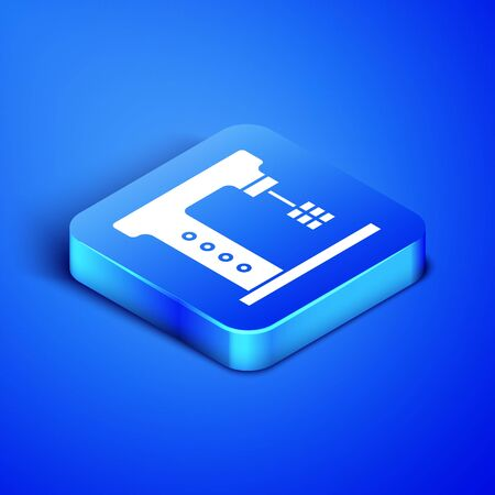 Isometric Electric mixer icon isolated on blue background. Kitchen blender. Blue square button. Vector Illustration