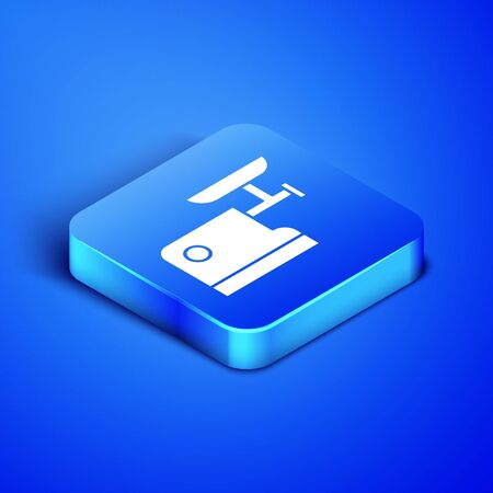 Isometric Kitchen meat grinder icon isolated on blue background. Blue square button. Vector Illustration Illusztráció