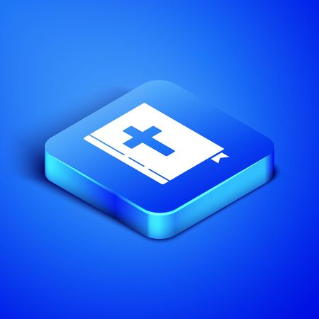 Isometric Holy bible book icon isolated on blue background. Blue square button. Vector Illustration