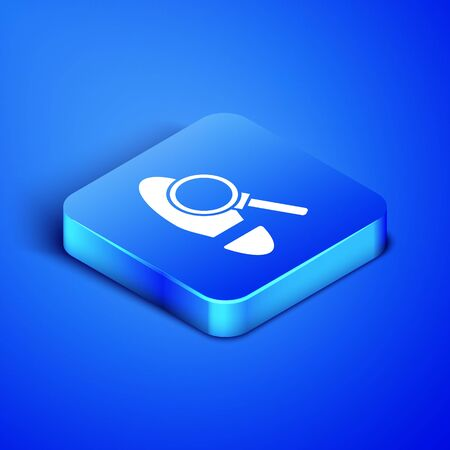 Isometric Magnifying glass with footsteps icon isolated on blue background. Detective is investigating. To follow in the footsteps. Blue square button. Vector Illustration 向量圖像