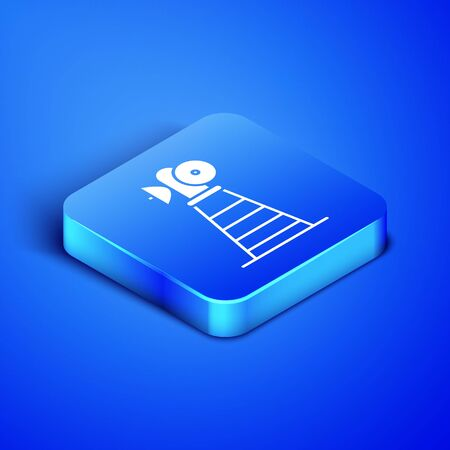 Isometric Antenna icon isolated on blue background. Radio antenna wireless. Technology and network signal radio antenna. Blue square button. Vector Illustration Иллюстрация