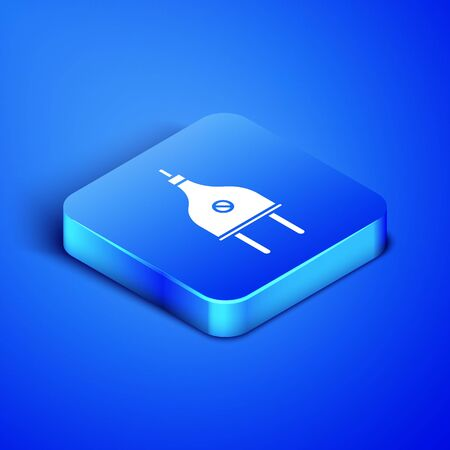Isometric Electric plug icon isolated on blue background. Concept of connection and disconnection of the electricity. Blue square button. Vector Illustration