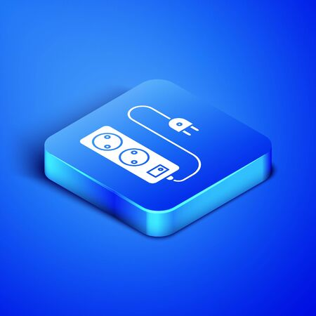 Isometric Electric extension cord icon isolated on blue background. Power plug socket. Blue square button. Vector Illustration Vettoriali
