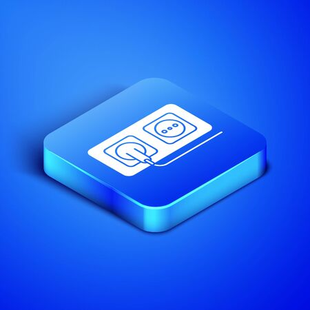 Isometric Electrical outlet icon isolated on blue background. Power socket. Rosette symbol. Blue square button. Vector Illustration Illusztráció
