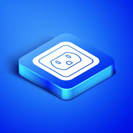 Isometric Electrical outlet in the USA icon isolated on blue background. Power socket. Blue square button. Vector Illustration