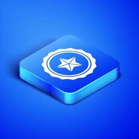 Isometric Police badge icon isolated on blue background. Sheriff badge sign. Blue square button. Vector Illustration Çizim