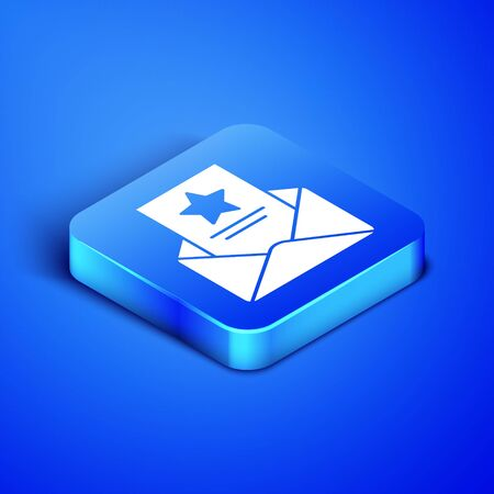 Isometric The arrest warrant icon isolated on blue background. Police badge with document. Warrant, police report, subpoena. Justice concept. Blue square button. Vector Illustration