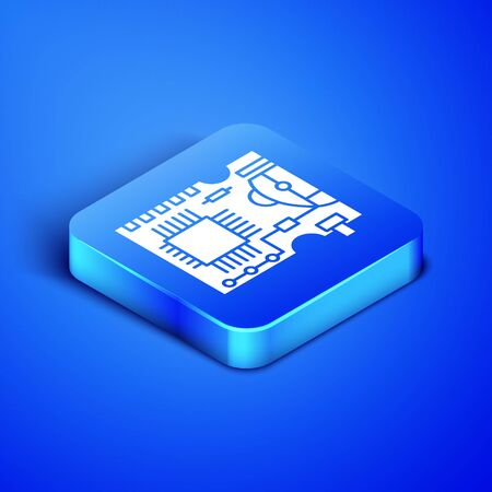 Isometric Printed circuit board PCB icon isolated on blue background. Blue square button. Vector Illustration