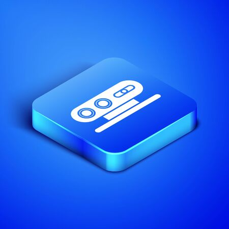 Isometric 3d scanning system icon isolated on blue background. Blue square button. Vector Illustration Çizim