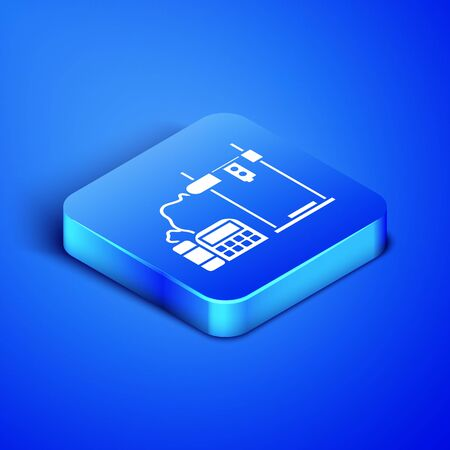 Isometric 3D printer icon isolated on blue background. Blue square button. Vector Illustration